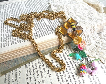 tassel necklace fairy flower bee charm assemblage spring garden recycled vintage jewelry floral garden cottage chic