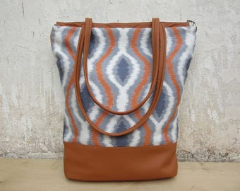 Spring totebag, ikat Leather Bag, leather canvas tote, womens  leather purse, geometric handbag, brown leather bag mothers day, everyday