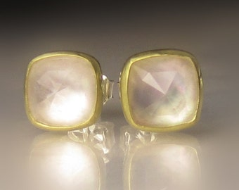 Herkimer Diamond Earrings, Rose Cut Herkimer Diamond over Mother of Pearl Earrings, Sterling Silver and 18k Gold Studs