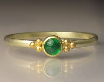 Emerald Ring in Gold, 14k, 18k and 22k Classic Emerald Ring