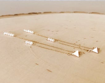 Triangle stud and pearl long double drop earrings. Bridesmaid. Wedding. Dainty. Freshwater pearl. White and gold. Minimalist. Gift