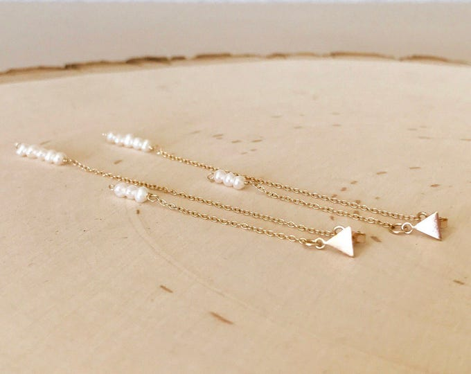 Featured listing image: Triangle stud and pearl long double drop earrings. Bridesmaid. Wedding. Dainty. Freshwater pearl. White and gold. Minimalist. Gift