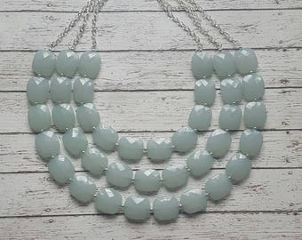 FREE EARRINGS Mint Green Triple Strand Chunky Statement Bib Necklace...Purchase 3 or more get 10% off