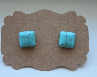 Turquoise Howlite Square Earrings, Turquoise Earrings, Stud Earrings, Silver Post, Turquoise Post, Square Earrings, Post Stud Earrings