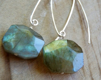 Aurora Earrings - Faceted Labradorite and Sterling Silver