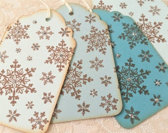 Christmas Tags Snowflake Ombre Shades of Blue Gift Wrap Silver Glitter Set of 6