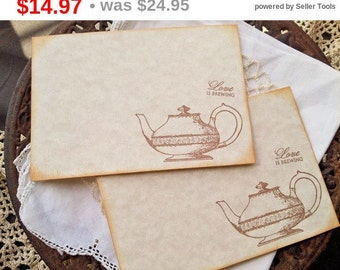 SALE Wedding Wish Cards Teapot Love is Brewing Tea Party Set of 25