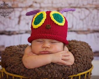 Caterpillar Hat, Knit Cotton Baby Hat great photo prop
