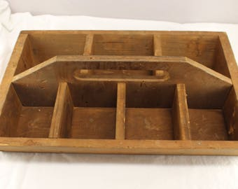 Vintage Primitive Wooden Divided Tool Tote Box