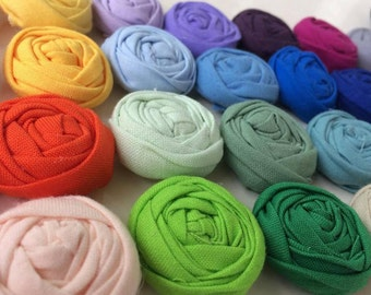 NEW! 40 One inch fabric rosettes- YOU PICK your colors
