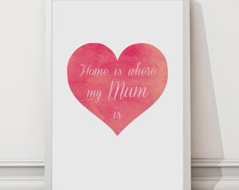 Home is where my Mum is wall art print - 8 by 10 inch