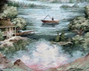 Cabin on a lake and a man fishing