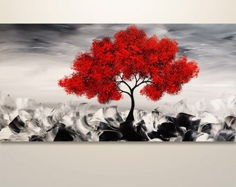 Abstract Painting, Original Painting Wall Art, Landscape Painting, Tree Painting, Palette Knife, Black White red painting, Wall Decor, 48""