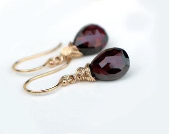 Garnet Teardrop Earrings | Dark Wine Red Garnet Pear Briolettes | 14k Gold Filled Dangles | Leverbacks | January Birthstone | Ready to Ship