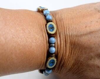 Blue and Brown Blue Jeans Bracelet, Blue Bracelet, Czech Glass Bracelet, Beaded Bracelet, Boho Chic Bracelet, Denim Blue Bracelet,  B022