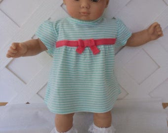 Bitty Baby Girl cute 3  pc turq. and white  dress with  socks and a  headband    doll clothes