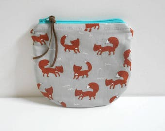 Foxy Zipper Bag/Change Purse/Gift Card Holder/Small Zipper Bag/Cotton Bag/Small Wallet/ Zipper Pouch/Coin Purse