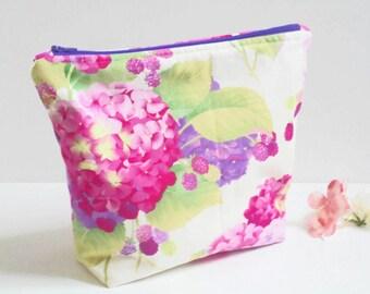 Floral Cosmetic Bag/Zipper Pouch/Makeup Bag/Travel Bag/Toiletry Bag/Floral Zip Top Bag-