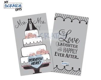 Mrs. & Mrs. Wedding Cake Topper Scratch Off Bridal Shower Game Card - Same Sex Wedding Shower