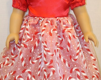 """18 inch Doll Clothes, Fits 18"""" American Girl Doll,candy canes,holiday, ag doll, am girl, fancy dress,sparkle,doll cloths, READY TO SHIP"""