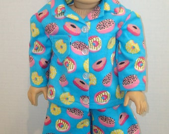 """18 """" doll clothes/Donuts/Flannel pajamas and slippers/READY TO SHIP/4piece set fits 18"""" girl doll like American Girl"""