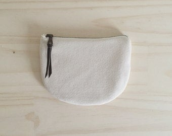 Vegan Zipper Pouch, White Coin Purse