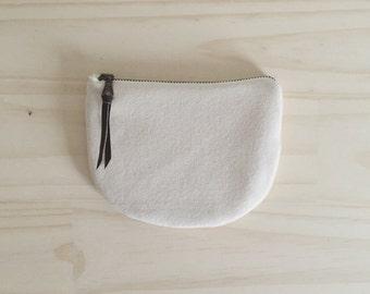 Vegan Zipper Pouch, White Coin Purse