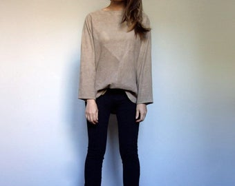 Leather Top Vintage 80s Oversized Suede Top Leather Shirt Beige Suede Shirt - Small to Large S M L