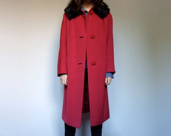 60s Winter Coat Women Fur Collar Red Coat Button Up 1960s Dress Coat - Medium to Extra Large M L XL