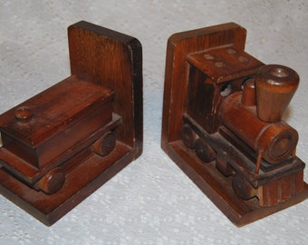 Vintage Wood Bookend set Train Engine Locomotive Boxcar Made in Japan