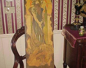 Vintage 70s Wood Picture ART NOUVEAU Mucha Actress SARAH Bernhardt Theater Pyrography Like Looks Great on Wall Home Decor