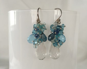 Gemstone Earrings in Sterling Silver with Rock Crystal, London Blue Topaz, Sky Blue Topaz, Aquamarine and Apatite - Something Blue