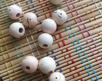 Wooden Head Beads:  Vintage Lot
