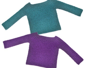 Classic Children Pullover Sweater - 8 Sizes - PDF Crochet Pattern - Instant Download