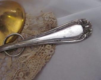 Key Fob Antique Ornate Silver Plate Silverware Key Chain -  Rare Pattern