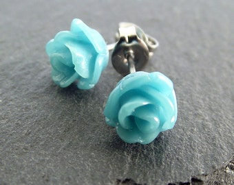Blue rose earrings, turquoise blue earrings, resin flower earrings, stud earrings