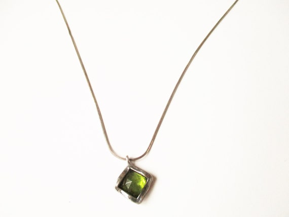Sterling peridot necklace: Beautiful hallmarked and signed sterling silver and crystal cut green peridot square statement pendant necklace