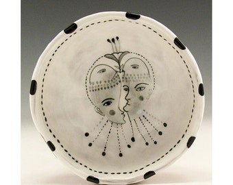 Holiday Sale Birdies - Original Painting by Jenny Mendes in a Ceramic Pinch Bowl