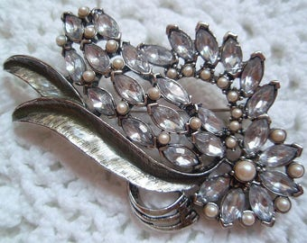 Monet PIN Pale Blue Rhinestones Faux Pearls Older and Elegant Vintage Charm By The Light Of The Silvery Moon