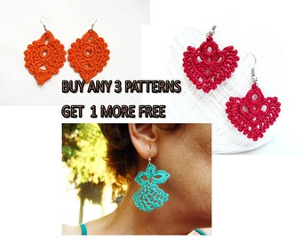 Patterns, Get 1 More Free Pattern, Buy Any 3 Earrings Patterns, Crochet Patterns, Crocheted Earrings,  Green Red Earrings, Tutorials