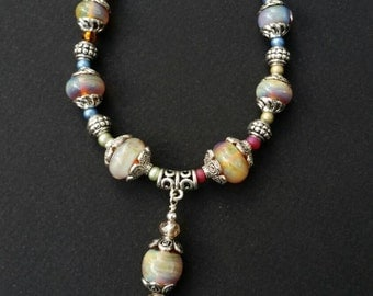 """SALE on """"Dragonfly"""" lampwork necklace"""