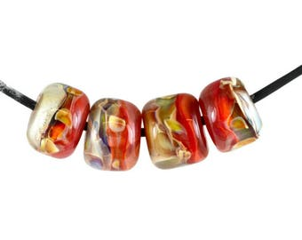 Lampwork Boro Glass Bead - Rose Garden Barrels