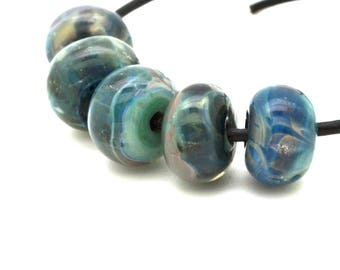 Lampwork Boro Beads Set of 5 Handmade Boro Borosilicate Glass Beads BebesGlassBeads Smokey Blues
