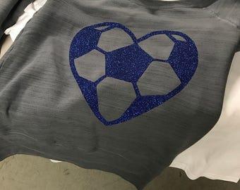 Soccer heart off the shoulder sweatshirt