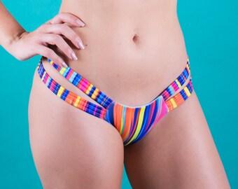 Rainbow Eucalyptus - Striped 2 Strap Bikini Bottom-Cheeky Fit
