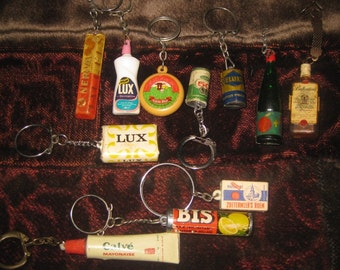 Instant Collection  of European Key Rings, Food, Characters, Eyeglasses, More