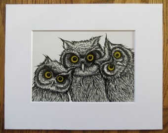 3 Owls Matted Print of Pen & Ink by Kelly Green H-Baum Esoteric Owl