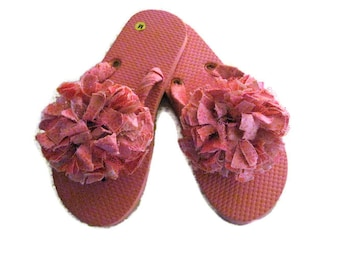 Pink Decorated Summer Beach Pool Flip Flops