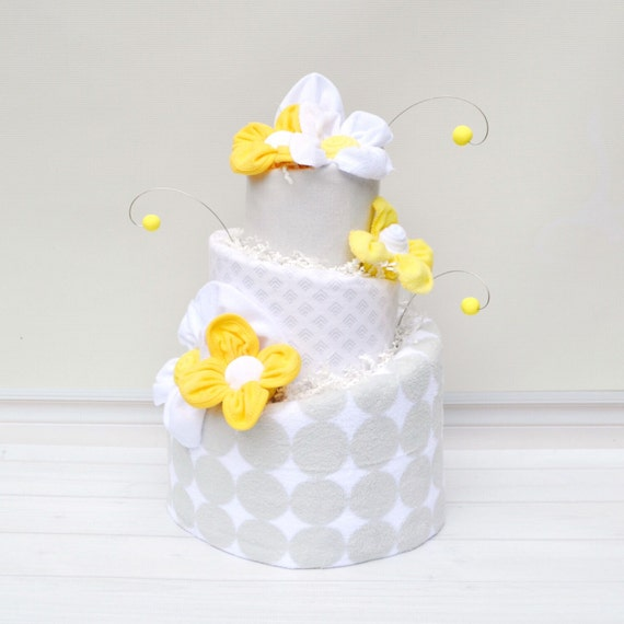 Gender Neutral Yellow Shower, Modern Diaper Cake, Gender Neutral Baby Gift, Gray Yellow Shower Diaper Cake, Neutral Baby Shower Centerpiece