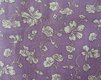 Vintage Cotton Fabric ~ Lavender & White Stylized Flowers  by the yard